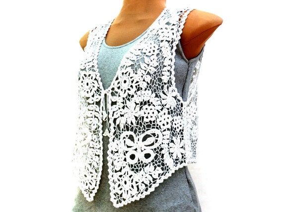 Ooak crochet  vest white with FREE shipping cotton, irish crochet bridal lacy delicate elegant .