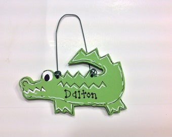 Personalized Hand Painted Wood Alligator Crocodile Gator Christmas Ornament Green