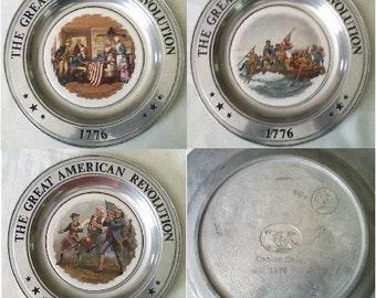 """Vintage Plates Pewter & Porcelain  """"Great Americn Revolution"""" Set OF 3"""