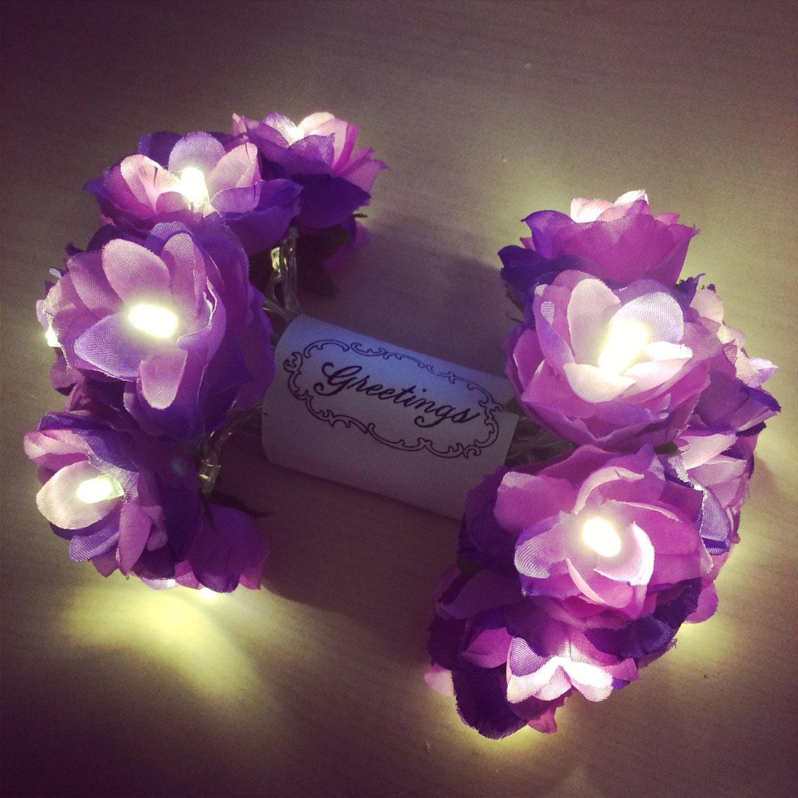 Wild Roses LED Fairy Lights in Lavender Purple string light