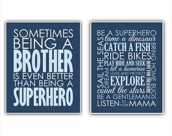 Brother Superhero and BROTHER print or canvas SET Baby Boy Art Baby Boy Wall Art Decor Nursery decor Be a SUPERHERO