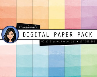 Watercolor Digital Paper - Digital Paper Watercolor - Dip Dye - Ombre - Gradient Paper for Scrapbooking, Invites & Card Making