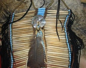 REDUCED COST Native American bone hair pipe breastplate with abalone disc centerpiece