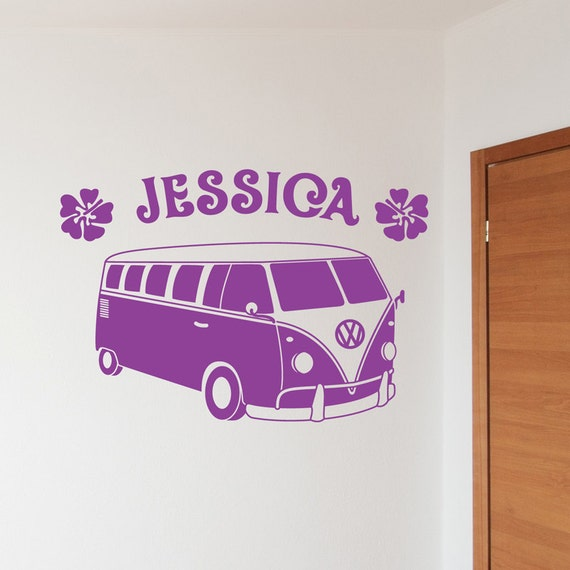 VW Camper Van Wall Sticker Personalised Decal Vinyl by ...