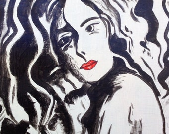 16x20 Abstract Black and White Woman with Red Lips #1
