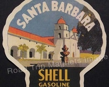 Shell Gasoline 1920s Travel Decal Magnet for SANTA BARBARA. Accurately Reproduced & hand cut in shape as designed. Nice Travel Decal Art