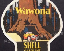 Shell Gasoline 1920s Travel Decal Magnet for WAWONA Version 1. Accurately Reproduced & hand cut in shape as designed. Nice Travel Decal Art