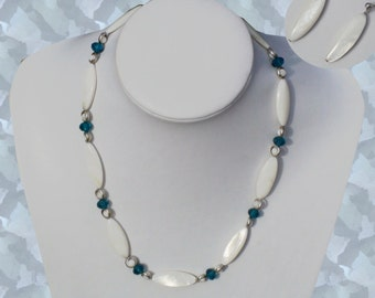 """Elegant  22"""" White and Aqua blue necklace with Free earrings."""