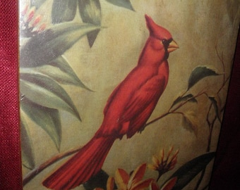 Litho Red Cardinal by R. F. Harnett Wall Plaque