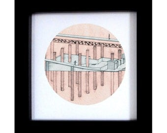 Architectural Print / Architecture drawing - Home Decor - hand drawn prints - Original Artwork