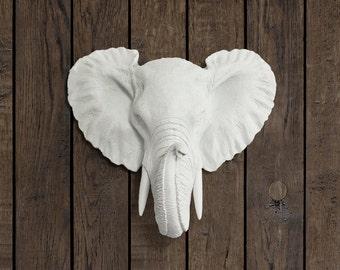 The Mini Savannah in White- Faux Elephant Head - Fauxidermy Ceramic Fake Taxidermy Resin Mounted Animal Decor Decorative Plastic Mount Art