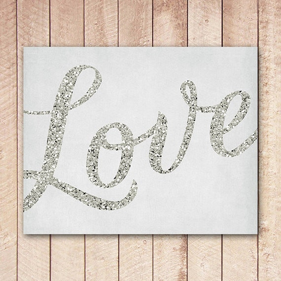 Valentines Love Printable, Silver Glitter Love Typography, Instant Download, Wedding Decor, Valentine Decor XSOQ