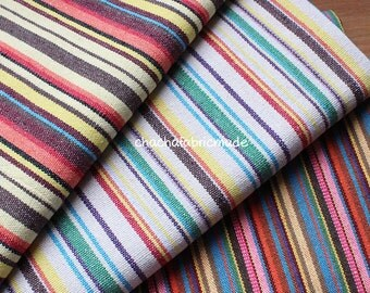 Stripy Handwoven Fabric Colorful Fabric Ethnic Fabric Native Fabric Boho Bohemian Fabric Mexican Fabric Thick and Heavy Weight-Half Yard