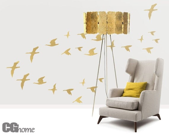 golden SET of 26 BIRDS for bird lovers wall decal GOLD birds CGhome
