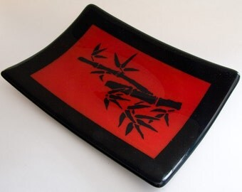 Fused Glass Plate with Bamboo on Red Glass
