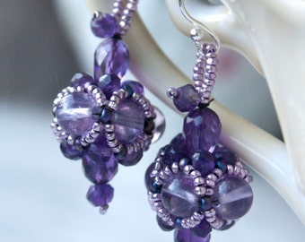 Amethyst Earrings with Beaded Czech Glass Accents