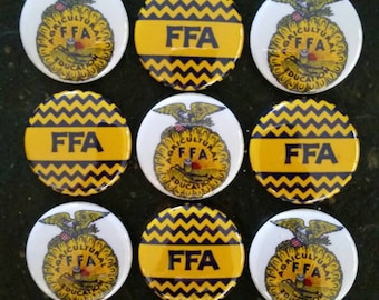 "FFA bottlecap image, pinbacks, 1"" buttons, lot of 15. Future farmers of America bottlecap image"