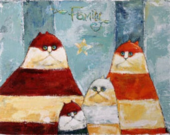 """Cat Family Portrait of Four, Original painting on canvas.  18"""" x 14"""" ready to hang"""