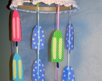 Mobile Pretty Popsicles mobile, kids room, kids mobile, popsicle, crib mobile, handmade mobile, nursery mobile,