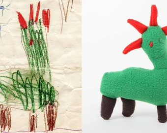 Custom stuffed toy made from drawing