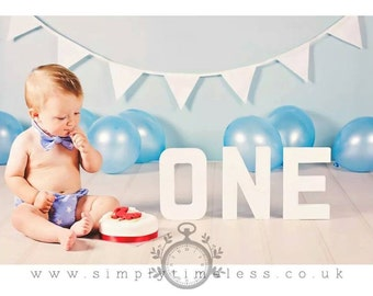 Boys Cake Smash Set - Funky star Tie, Pants and hat age 12-24 months-choice of colours-baby photography-UK SELLER