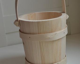 Handmade, big wooden bucket, wooden decoration, height 30cm=11.79 inch