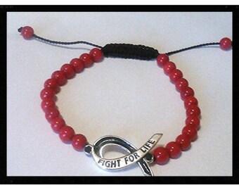 Sterling Silver Melanoma Cancer Bracelets Red Bead Cancer Awareness