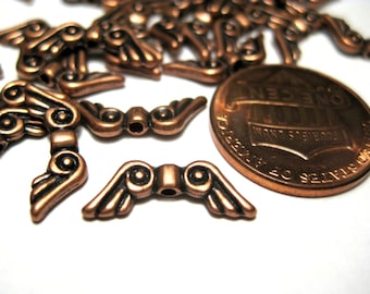 20pcs Antique Copper Angel Wings Spacer Beads 15x6mm