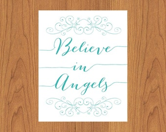 Believe In Angels Teal Nursery Bedroom Living Room Kitchen Home Wall Art Home Decor 8x10 Print (151)