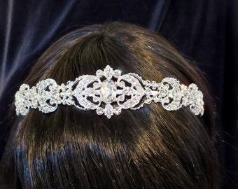 Vintage Bridal headband, Rhinestone Wedding headband, Bridal headpiece, Crystal headband, Silver filigree headband, Wedding headpiece