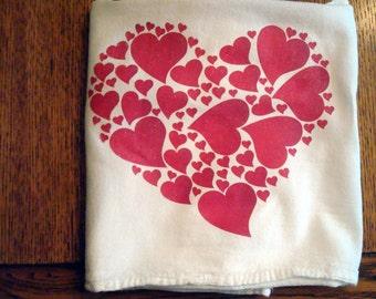 Kitchen Flour Sack Towel  (Heart)