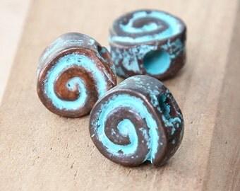 8 pcs Large Hole Spiral Beads, Green Patina, 10mm