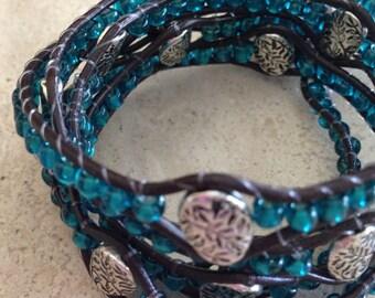 Online Jewelry Handmade Designer Inspired 5x Wrap Leather Beaded Bracelet Bohemian Southwestern Blue Bead Metal Leaf Accent Decorative Clasp