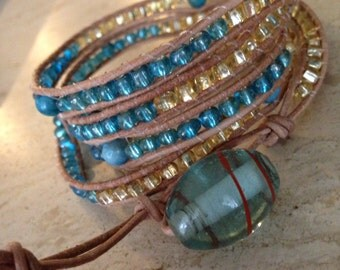 Online Jewelry - Handmade Designer Inspired 5x Wrap Leather Bracelet - Gold & Aqua Beads Lamp Work Clasp Bohemian Handcrafted Free Shipping