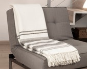 """MADE IN EUROPE King size bedspread . blanket. Wool blanket. White wool blanket. Striped blanket. Striped throw. """"Boteh 05"""""""
