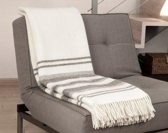 """Wool blanket . blanket. Wool throw blanket. White wool blanket. Striped blanket. Striped throw. """"Boteh 05"""" Made in Europe"""