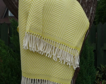 merino wool blanket / merino wool throw / blankets and throws / yellow wool blanket / yellow wool throw / striped wool blanket