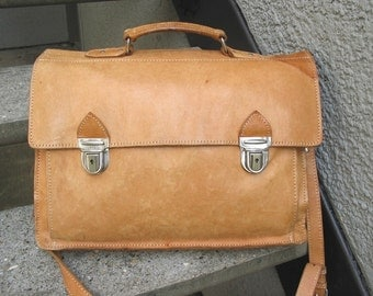 Natural Tan Leather Briefcase