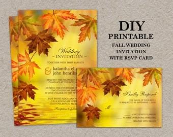 DIY Printable Fall Wedding Invitations With RSVP Cards, Fall Wedding Invitation Kits With Falling Leaves, Falling Leaves Wedding