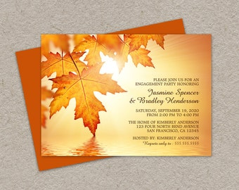 DIY Printable Fall Engagement Party Invitations With Orange Leaves, Fall Engagement Invitation Cards With Leaves, Fall Leaves Invites