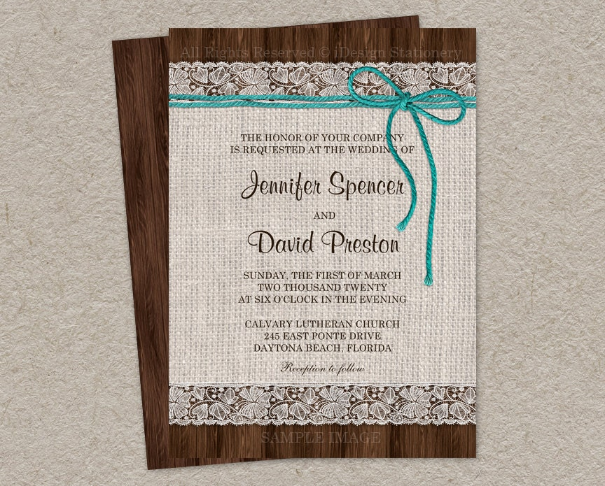 Burlap Wedding Invitations Diy: Printable Burlap And Lace Wedding Invitation Printable Rustic