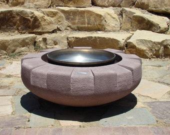 Custom Concrete Outdoor Firepit (Firepot) Hand-Carved by Joe Rivera & Cristi Mason-Rivera