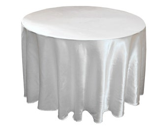 White Satin Table Cloth Round 108 inch