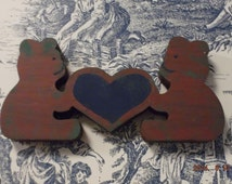 Clearance Primitive Two Bears With Heart Decoration to Hang on the Wall or Use as a Knick Knack FREE SHIPPING in the USA!