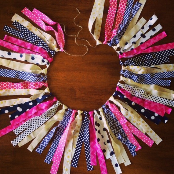 Pink, Navy and Gold Fabric Garland