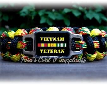 Vietnam Veteran Bracelet, Paracord Bracelet, Survival Bracelet, Military Veteran, War Veteran, Unisex Adult Bracelet, Gift
