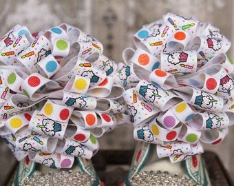 Cupcake Shoe Bows or Pigtail bows