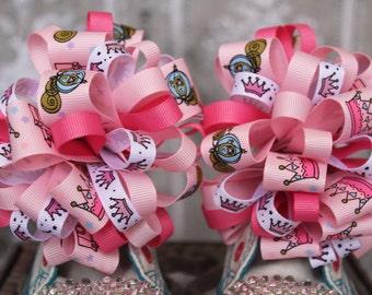 Princess Shoe Bows or Pigtail bows