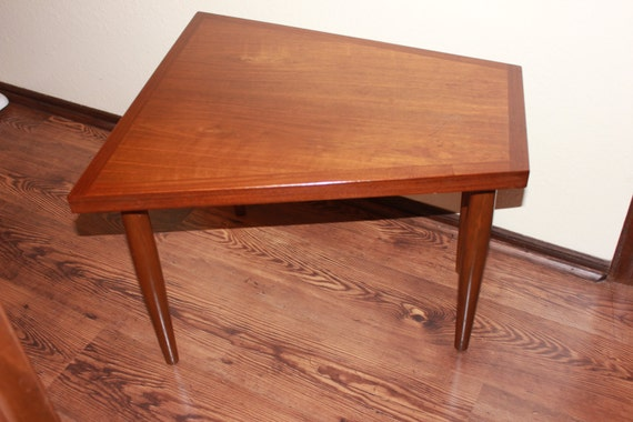 Mid century modern trapezoid side table for Trapezoid table