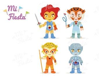 ThunderCats Inspired set Lion-O, Tygra, Cheetara and Panthro. Art birthdays Instant Digital Download